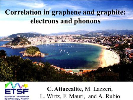 Correlation in graphene and graphite: electrons and phonons C. Attaccalite, M. Lazzeri, L. Wirtz, F. Mauri, and A. Rubio.