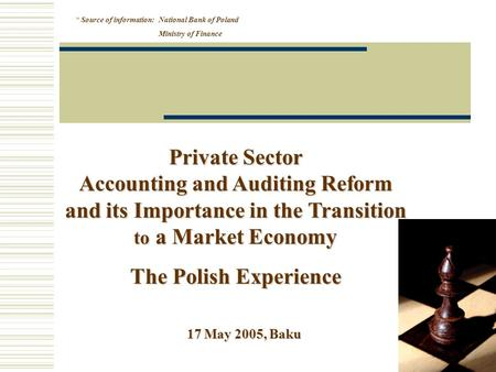 17 May 2005, Baku Private Sector Accounting and Auditing Reform and its Importance in the Transition to a Market Economy The Polish Experience * Source.