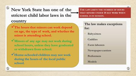 New York State has one of the strictest child labor laws in the country The hours that minors can work depend on age, the type of work, and whether the.