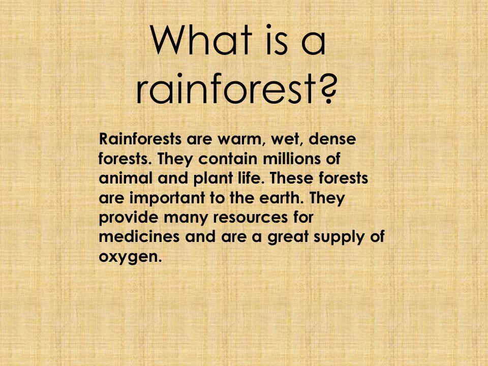 There are two different types of rainforests; temperate and tropical.