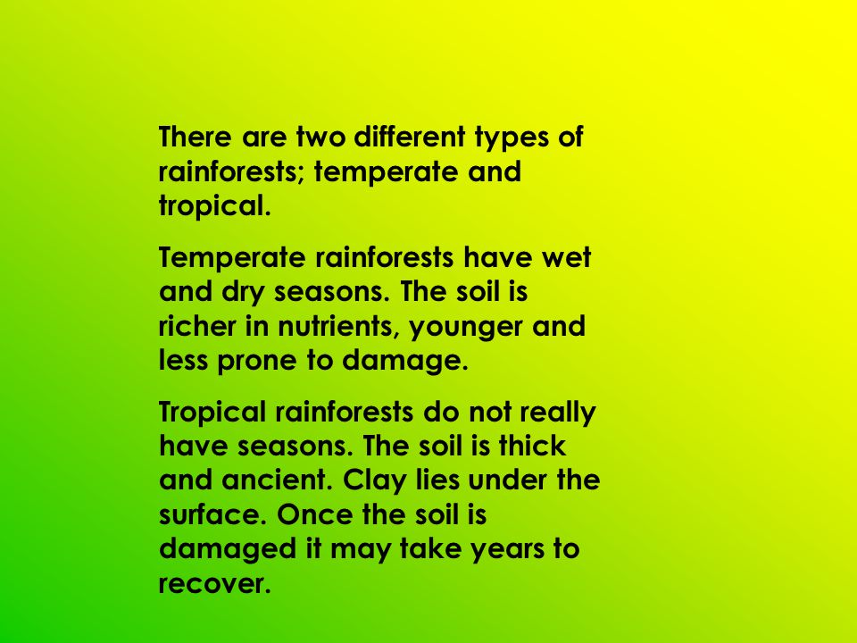 Rainforests are found near the equator.