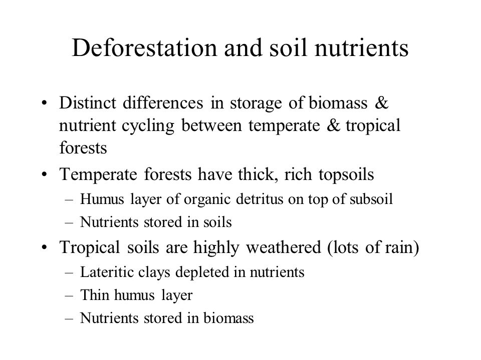 Tropical above ground storage of biomass & nutrients