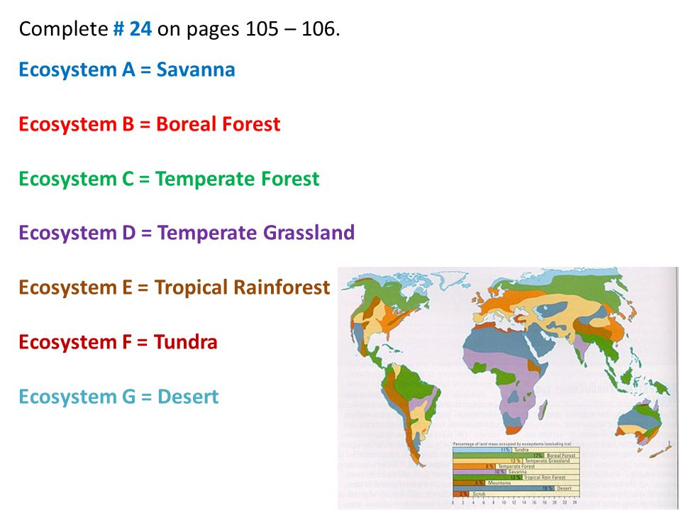 Complete # 25 on page 107. Tropical Rain Forest Answer