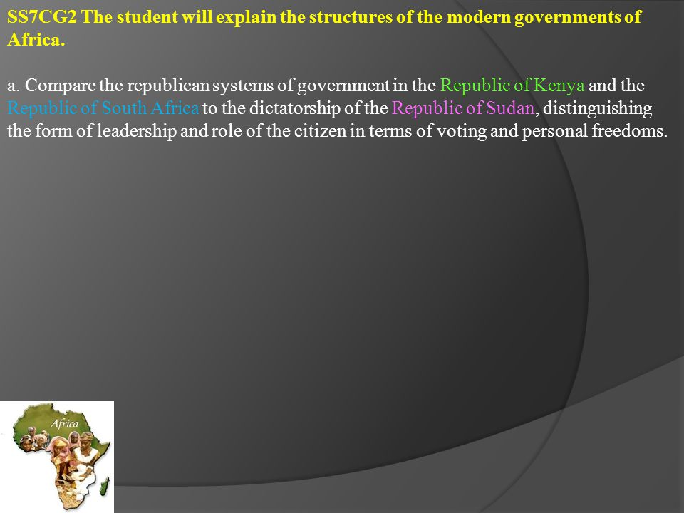 SS7CG3 The student will analyze how politics in Africa impacts standard of living.