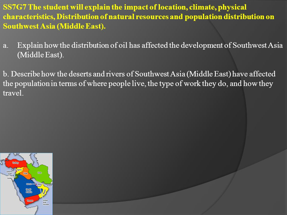 SS7G8 The student will describe the diverse cultures of the people who live in Southwest Asia (Middle East).