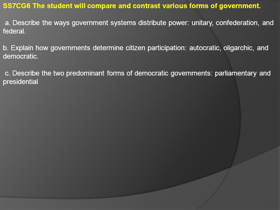 SS7CG7 The student will demonstrate an understanding of national governments in Southern and Eastern Asia.