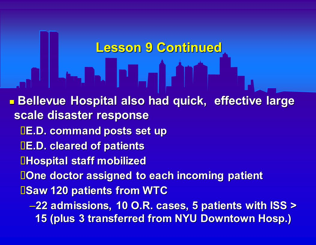 Lesson 10 : E.D.Caseload From a Disaster Has an Initial Surge, Then Tapers Off NYC Dept.