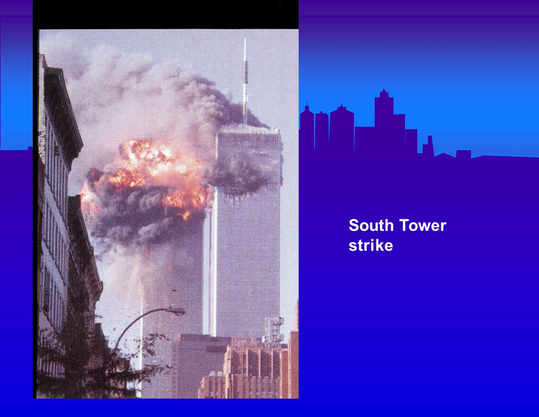 North Tower burning