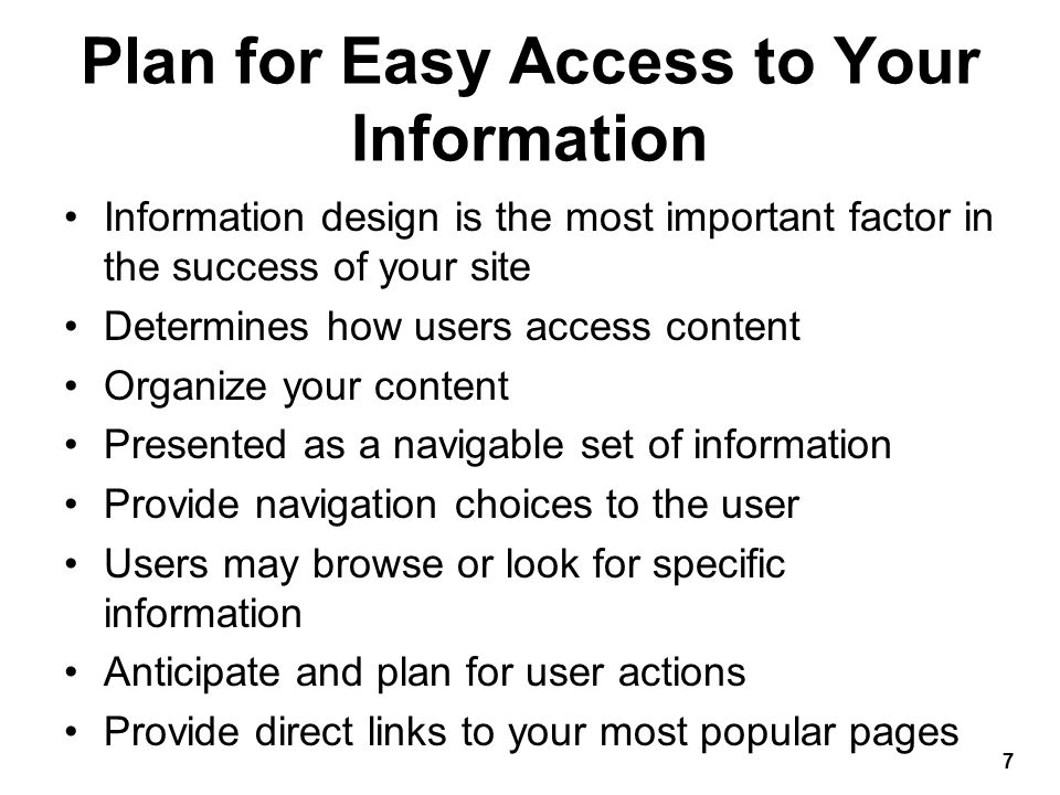 Plan for Easy Presentation of Your Information Design information to be easy to read and legible Break text into reasonable segments Provide contrasting colors that are easy on the eye Use plenty of white space Readers have different online reading habits Include plenty of headings Control the width of your text 8