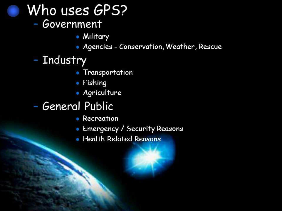 –Each GPS satellite transmits an accurate position and time signal.