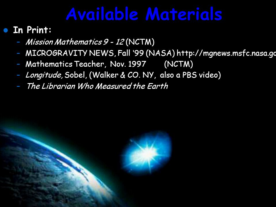 Available Materials On the Web: Overview of GPS: http://www.utexas.edu/depts/grg/gcraft/notes/gps/ U.S.