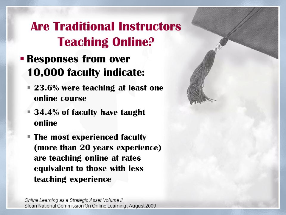Top Reasons Why Instructors Want to Teach Online  Meet student needs for flexible access  Best way to reach particular students  Personal and professional growth  Wave of the future  Pedagogical advantages  Earn additional income  Required to do so Online Learning as a Strategic Asset Volume II, Sloan National Commission On Online Learning, August 2009