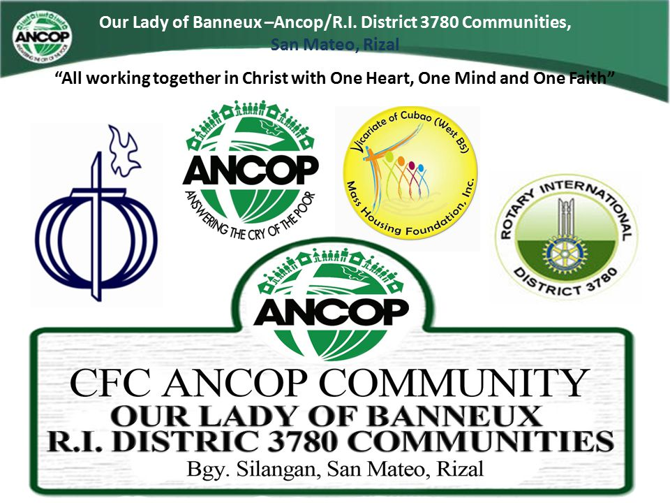 Our Lady of Banneux –Ancop/R.I. District 3780 Communities, San Mateo, Rizal OFFICIAL MARKERS
