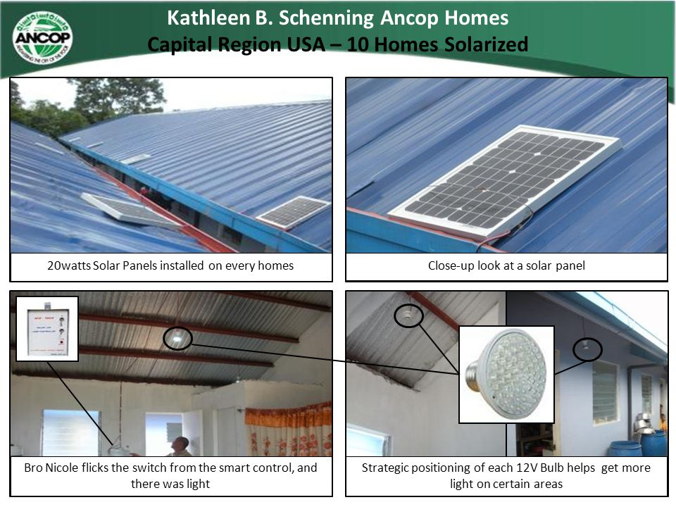 1 st CFC Ancop USA Homes National USA Technical Data / Site Status Village Name : 1 st CFC Ancop USA HomesShort Name : Address :OLB, San Mateo RizalVillage Code :CFCAT - AUSA – SNMTRZL - 0004 Partner Name :National OfficePartner Code :N – S – 0002 Status : On-going Build(Ground Breaking)Source of Power : Developments : Site Development Completed / Team has started preparation for footing and foundation Source of Water : Fund Status / Total Amount Released: 1 unit for Release / Funds with CFCATLiquidated : Other Structures on Site :MPH / Educational Center Ground Breaking on November 11, 2012 Multi Funded Donor Shrine of Our Lady of Banneux For Marketing / Still looking for Potential Donors No Donors Water System For Marketing / Still looking for Potential Donors No Donors