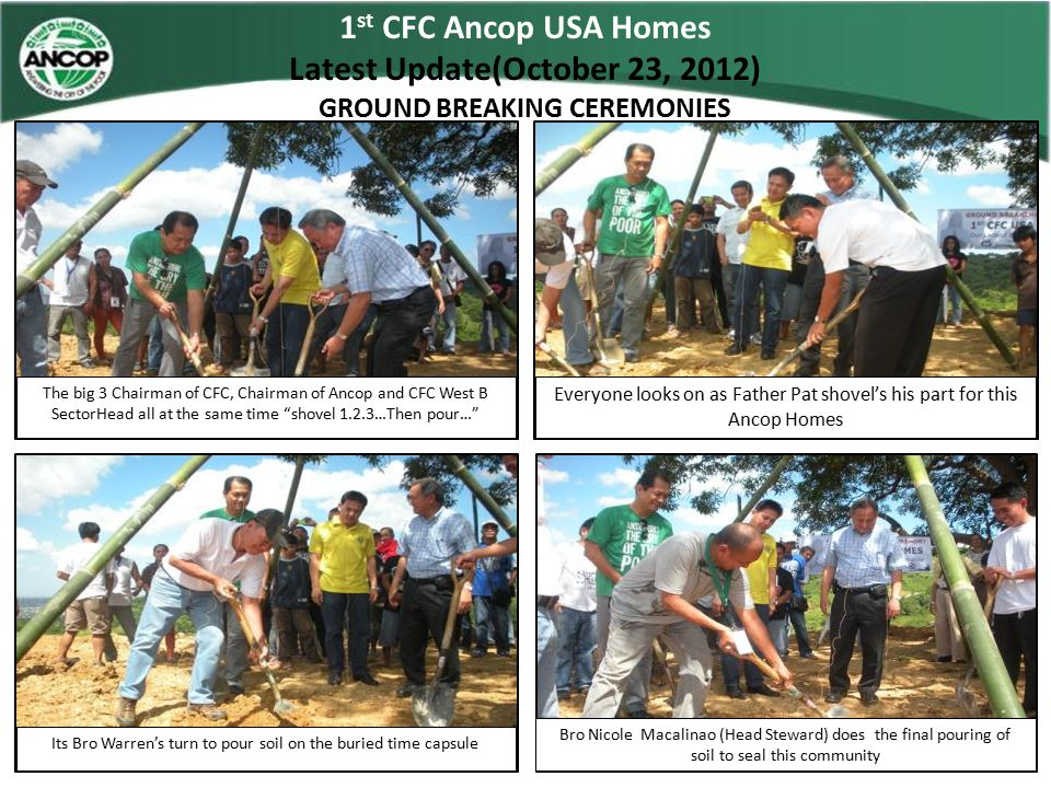 Community of Hope Ancop Homes National USA Technical Data / Site Status Village Name : Community of Hope Ancop HomesShort Name : Address :OLB, San Mateo RizalVillage Code :CFCAT - AUSA – SNMTRZL - 0003 Partner Name :Typhoon Shelter Funds – Ondoy FundsPartner Code :N– S – 0001 Status : On-going Build(Ground Breaking)Source of Power : Developments : Site Development Completed / Team has started footing and foundation for 9 units, Walls, Doors and Windows Frames, CR parttions already erected and ready for plastering Source of Water : Fund Status / Total Amount Released: 1 st Released - P850,000Liquidated : Other Structures on Site :MPH / Educational Center Ground Breaking on November 11, 2012 Multi Funded Donor Shrine of Our Lady of Banneux For Marketing / Still looking for Potential Donors No Donors Water System For Marketing / Still looking for Potential Donors No Donors
