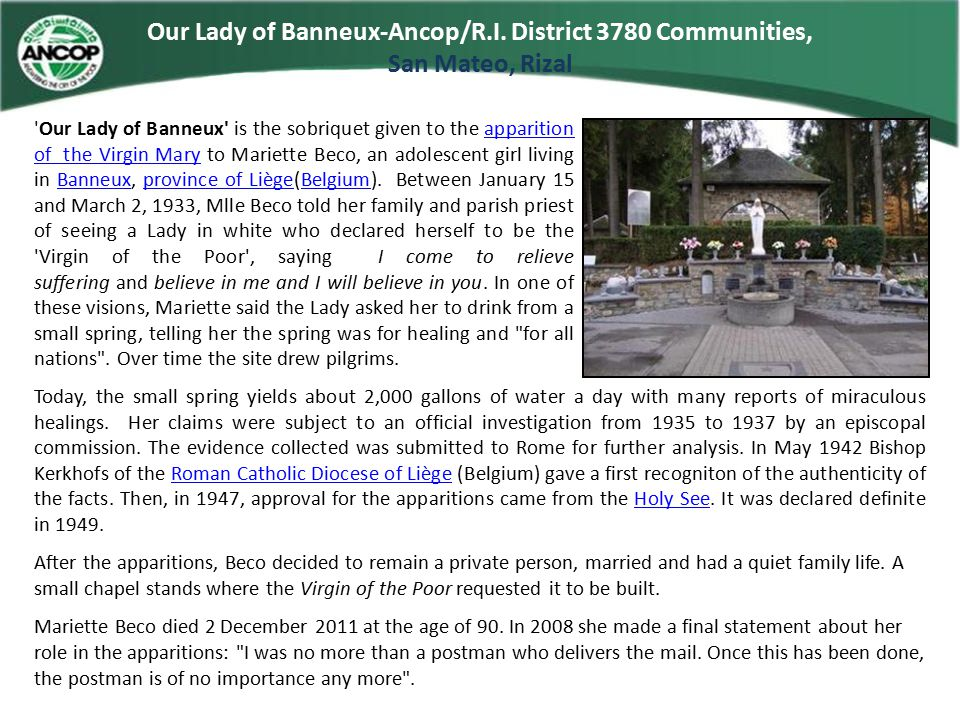 Our Lady of Banneux-Ancop/R.I.