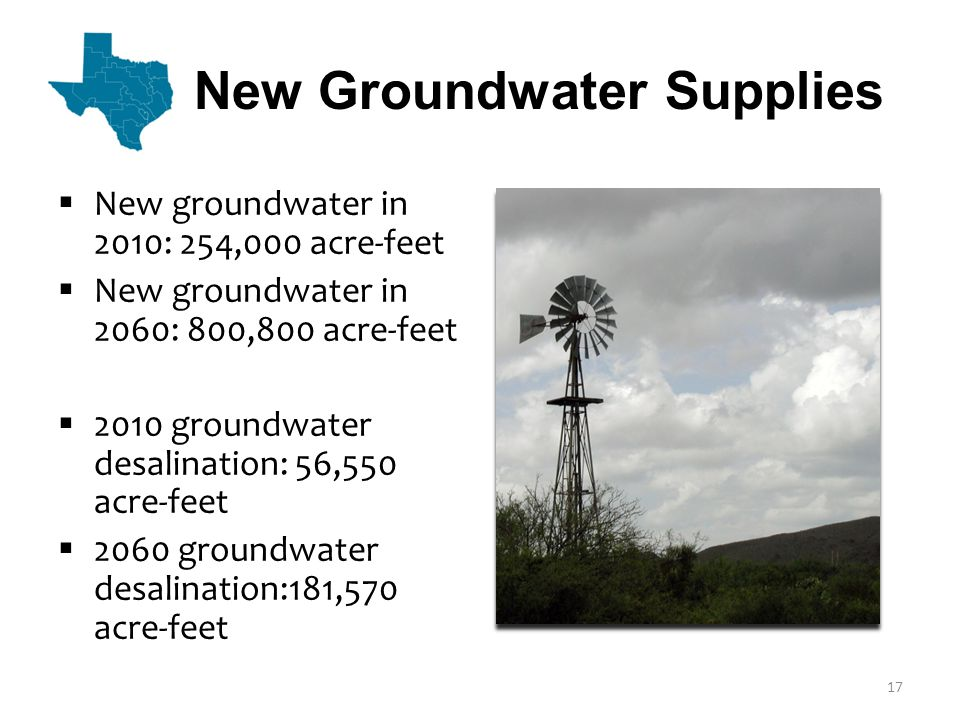Surface Water  Includes stream diversions, new reservoirs, new/increased water supply contracts, connection of developed supplies to infrastructure, operational changes, and other strategies  Volume in 2010: 762,100 acre-feet  Volume in 2060: 4,550,000 acre-feet 18