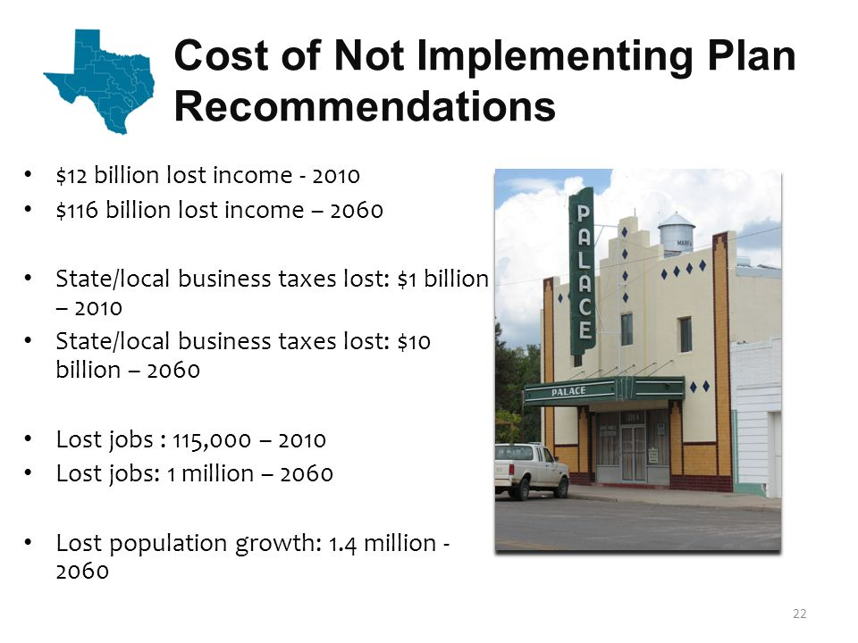 Policy Recommendations Based on planning groups' recommendations and other policy considerations, TWDB makes the following recommendations that are needed to facilitate the implementation of the 2012 State Water Plan.