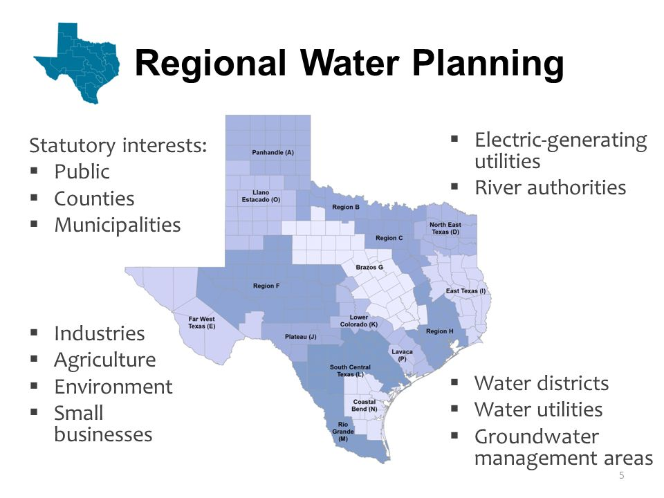 Existing Water Supplies Projected Water Demand Surplus (+) or Need (-)  Project future population and water demand  Quantify existing and future water supplies  Identify surpluses and needs  Evaluate and recommend water management strategies  Make policy recommendations  Adopt the plan Regional Water Planning 6