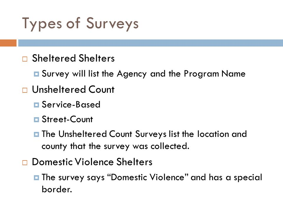 Sheltered/Unsheltered  Already provided to PIT Coordinators