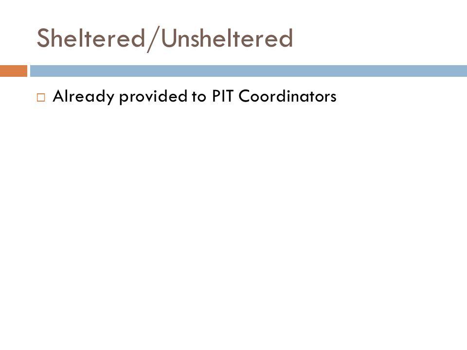 DV Survey  Already provided to PIT Coordinators