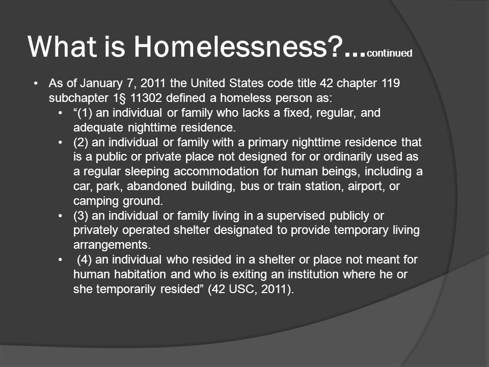 Causes of Homelessness.As noted by B.F.