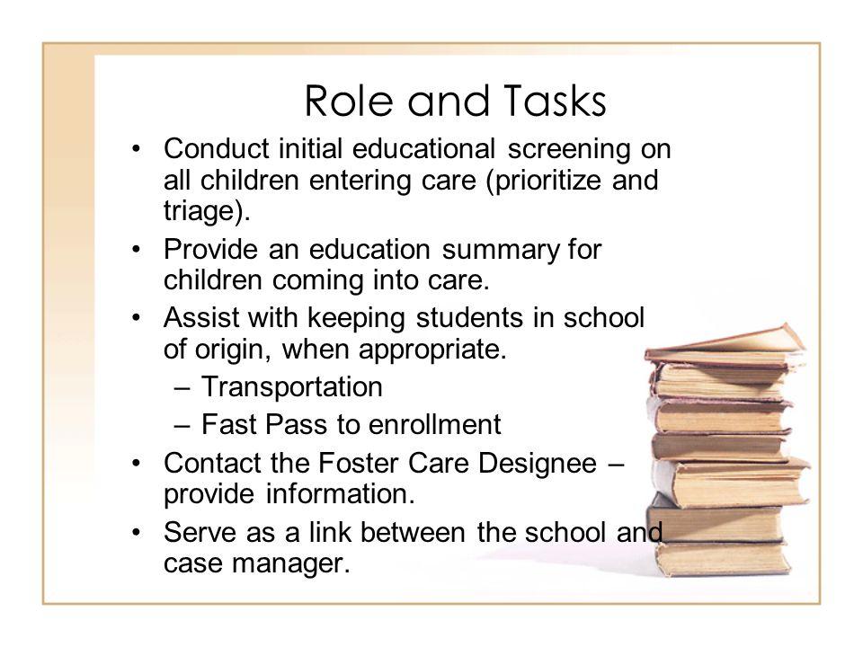 Role (con't) Collect educational data (FCAT scores, grades).