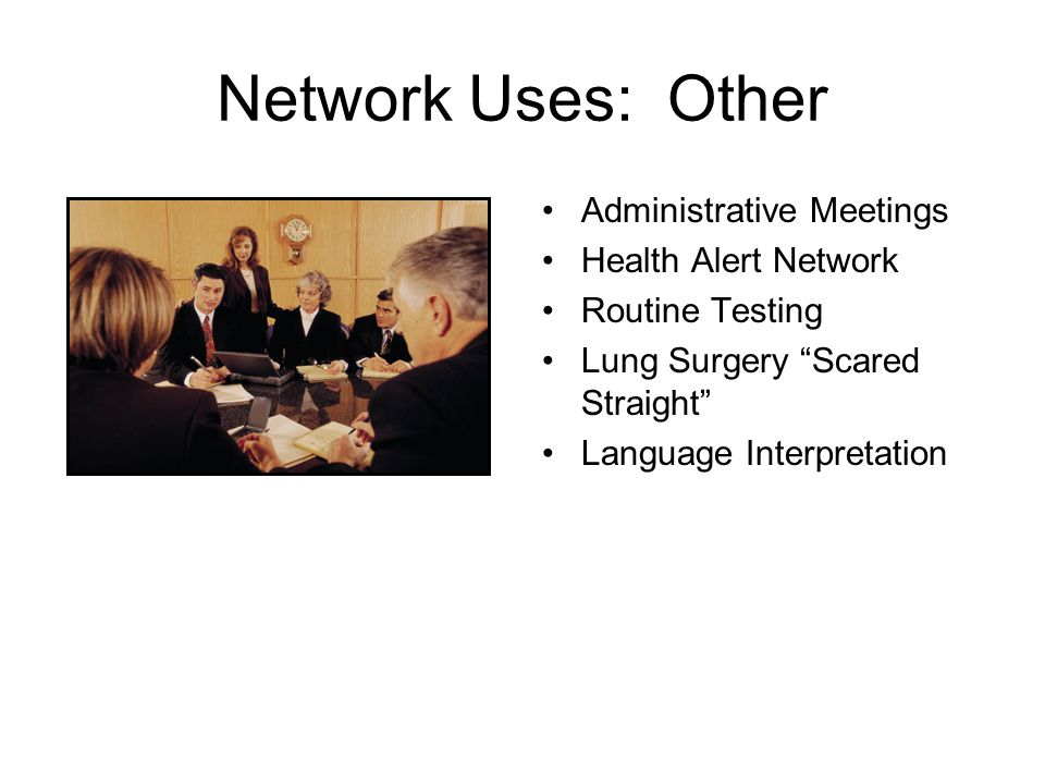 Network Uses at This Time Telehealth Education and Training –On-Going Conducting Clinical Consults for Practitioners Peripheral Devices Creating a Telehealth Business Plan Privacy and Security Community Mental Health and Telehealth Electronic Health Records