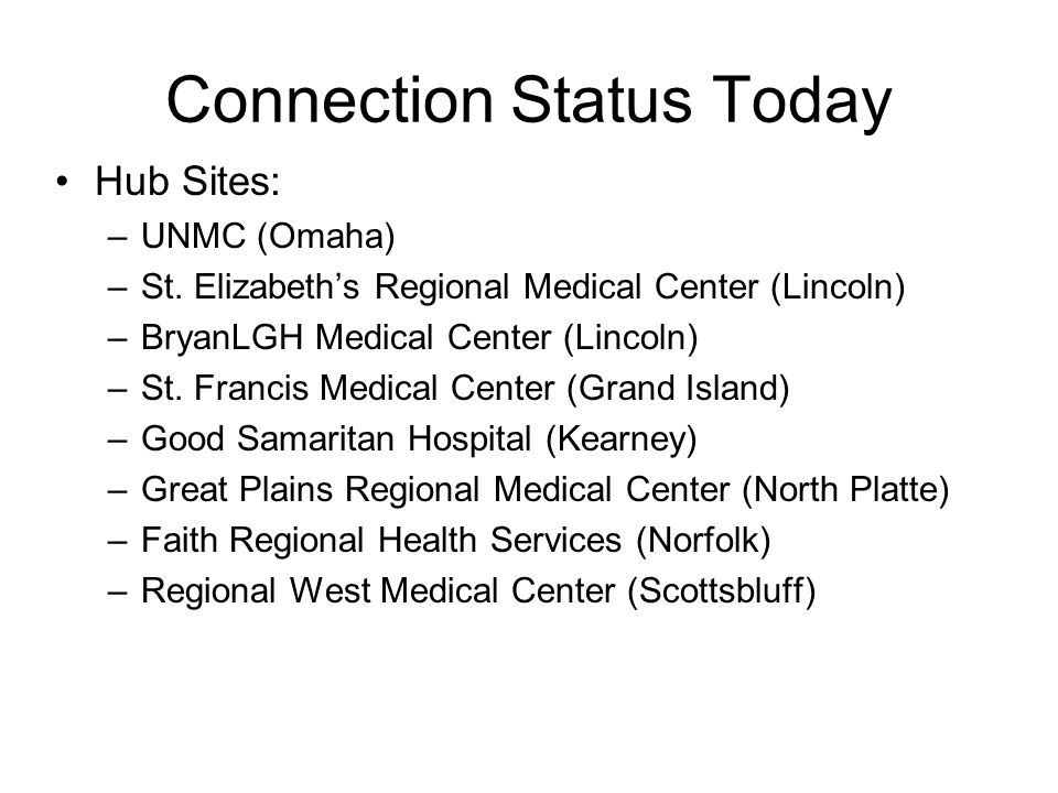 Connection Status Today Sixty-seven rural hospitals are connected to these hubs.