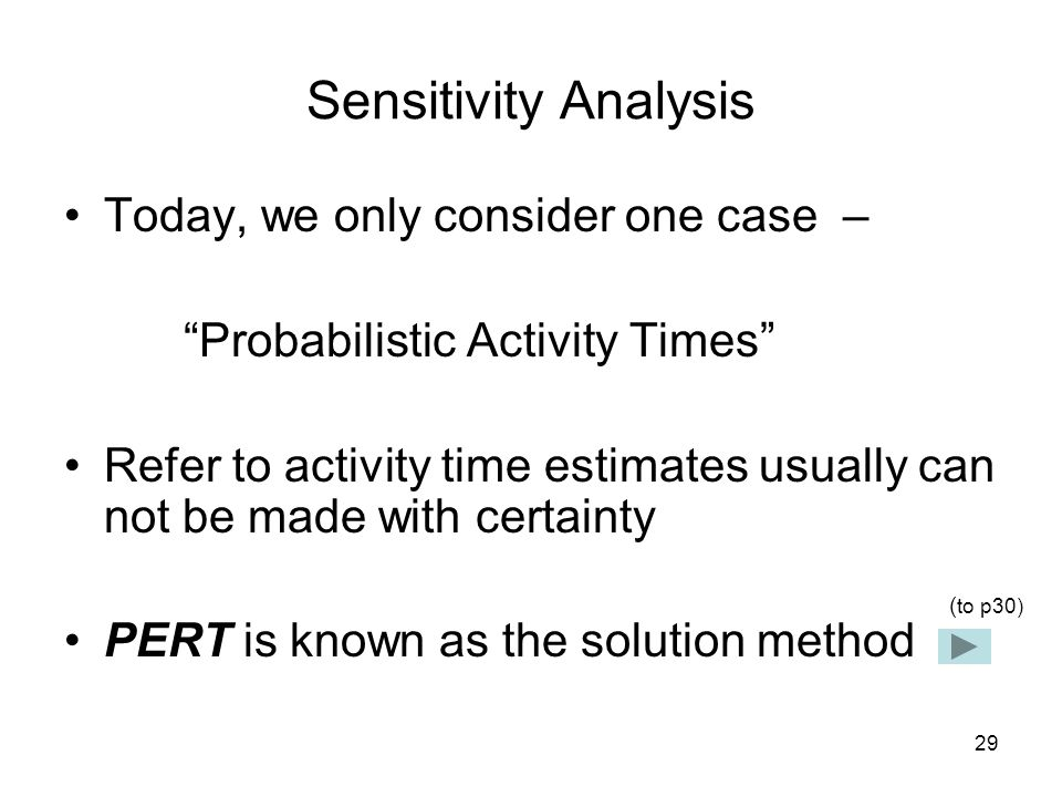 30 PERT In PERT, three different time estimations are applied: most likely time (m), the optimistic time (a), and the pessimistic time (b).