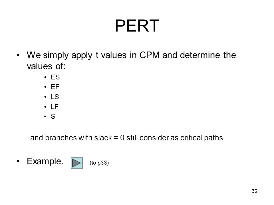 33 Procedures for PERT Step 1: based on the values of a, b and m, determine the t and v values for each path Step 2: determine the critical path by using t values in the CPM Step 3: compute its corresponding means and standard deviations according.