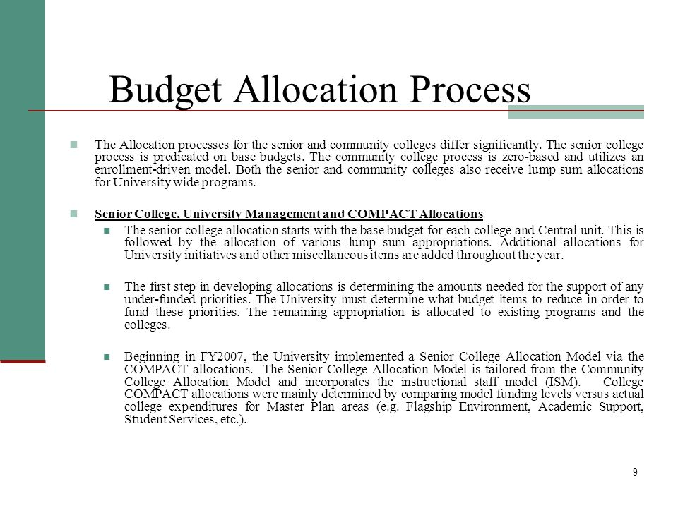 10 Budget Allocation Process, cont'd Lump sum allocations: These include adjuncts, child care, collaborative programs with the NYC Dept.