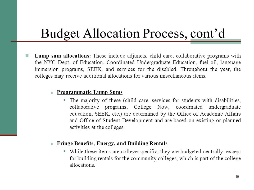 11 Budget Allocation Process: Community Colleges As at the senior colleges, the first step in developing allocations for the community colleges is to determine the level of funding required for University priorities.