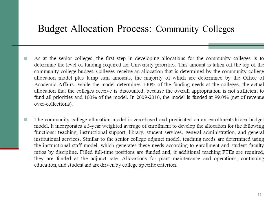 12 Tuition Revenue Policy The tuition revenue budget is appropriated by the State to the senior colleges as a lump sum and by the City to the community colleges as part of the overall budget.