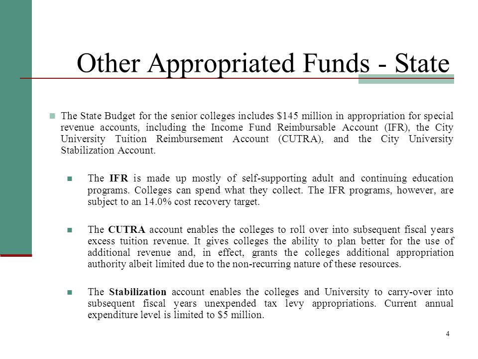 5 Other Appropriated Funds - City The City's budget includes funding for Associate Degree programs at the College of Staten Island, New York City College of Technology, Medgar Evers College, and John Jay College.