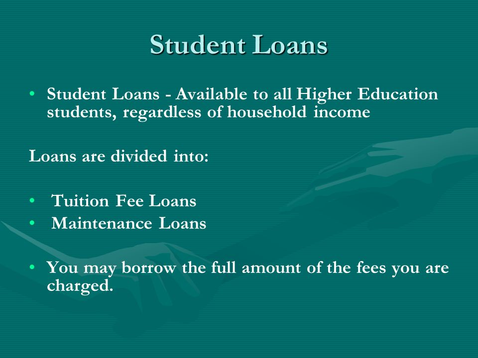 Maintenance Loan You may also take out a student loan for maintenance to help with living costs such as accommodation, food, clothes, travel and so on.