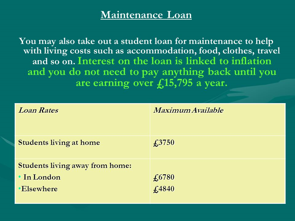 Repayment of Loans Tuition Fee Loans and Maintenance Loans added togetherTuition Fee Loans and Maintenance Loans added together Repayments start upon leaving course and earning over £16,365 * per yearRepayments start upon leaving course and earning over £16,365 * per year Repayments are collected through PAYERepayments are collected through PAYE Repayment rate is 9% of earnings above £16,365 a year *Repayment rate is 9% of earnings above £16,365 a year * Loans are written off after 30 yearsLoans are written off after 30 years