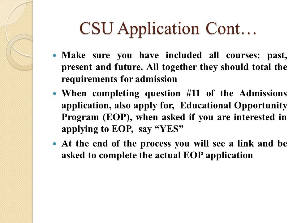 CSU Application Fee Waiver Apply for the Fee Waiver Complete the worksheet to see if you qualify If you qualify, Congratulations.