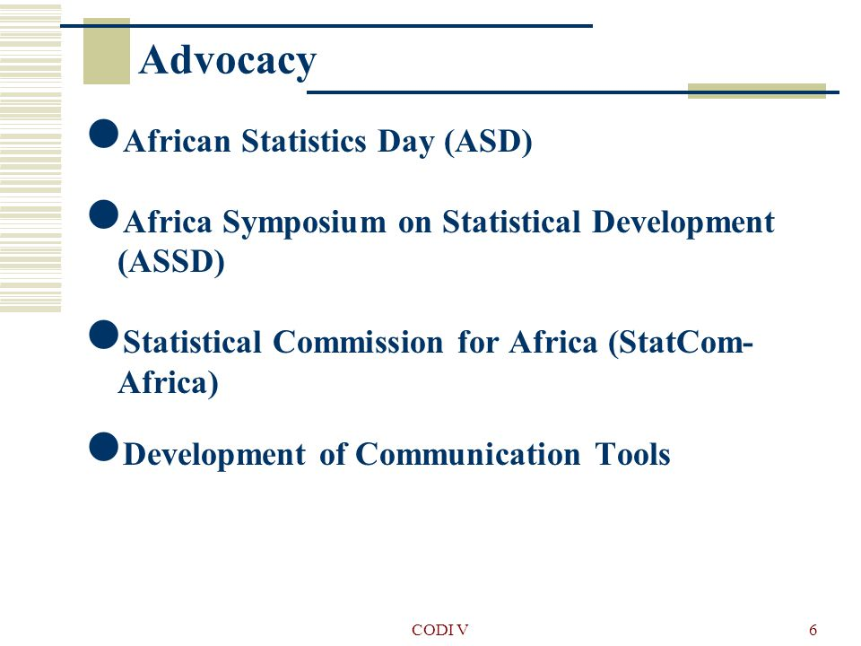 CODI V7 Institutional development Support to the elaboration and implementation of the NSDS