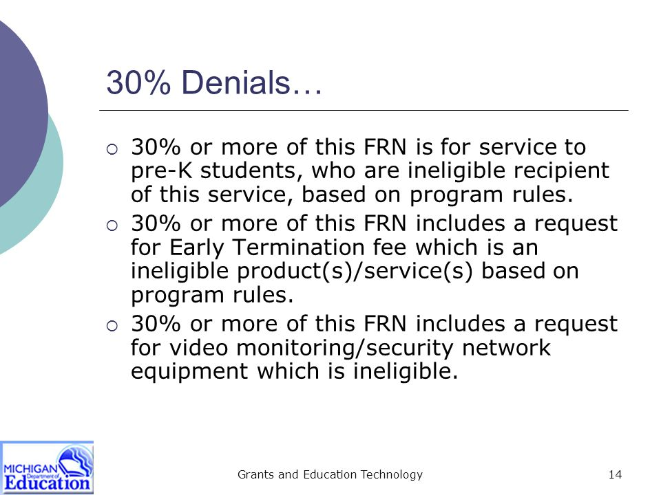 Grants and Education Technology15 30% Denials www.universalservice.org/sl/tools/eligible-services-list.aspx www.universalservice.org/sl/tools/eligible-services-list.aspx  30% or more of this FRN is for duplicate service which/who are/(is an) ineligible recipient(s) of this service, based on program rules.