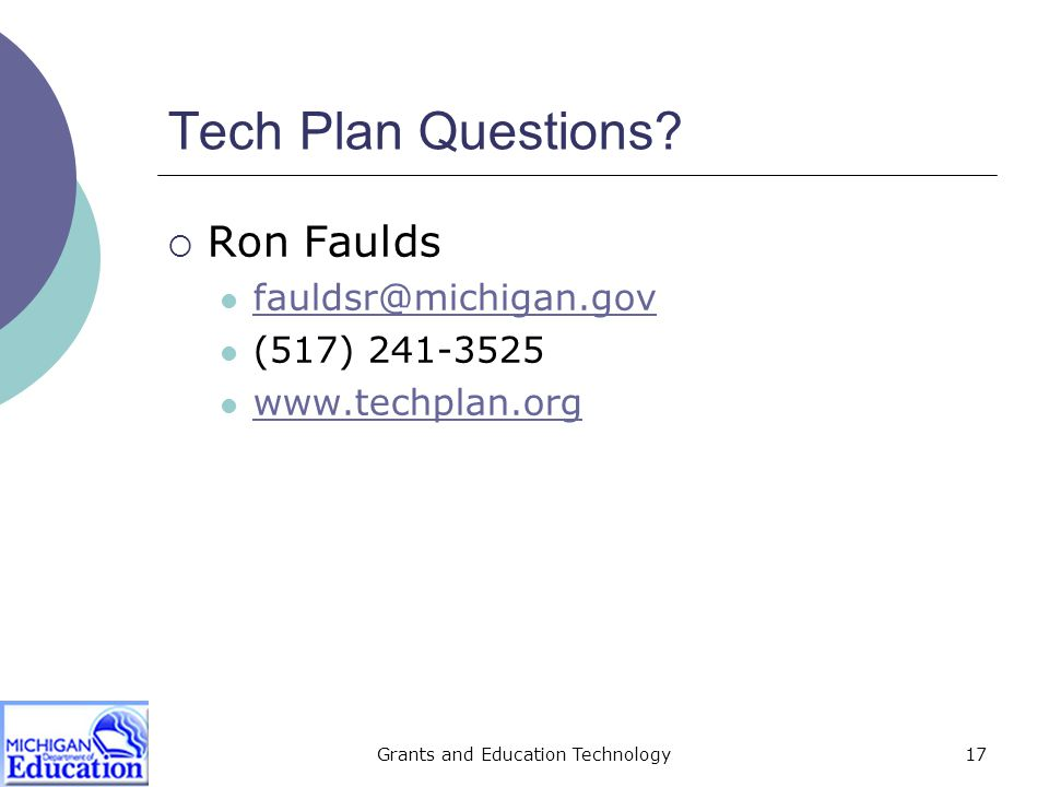 Grants and Education Technology18 MEGS Questions.