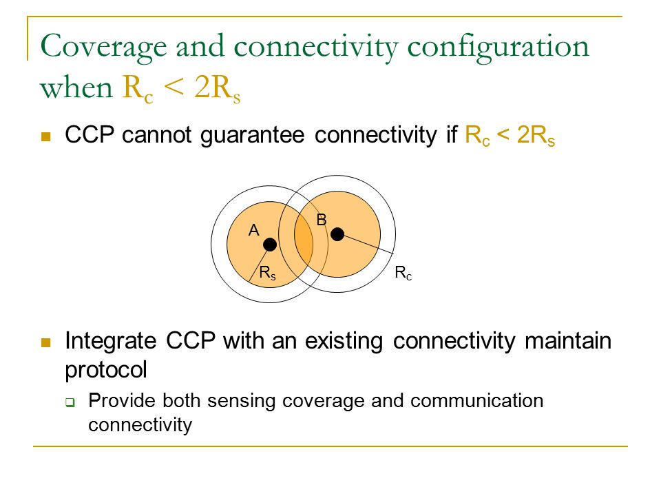 SPAN+CCP Span: An Energy-Efficient Coordination Algorithm for Topology Maintenance in Ad Hoc Wireless Networks Mobicom'03  Maintain a communication backbone composed of active node (=coordinator)  The communication backbone maintains the topology of the network All active nodes are connected through the backbone All inactive nodes are directly connected to at least one active node