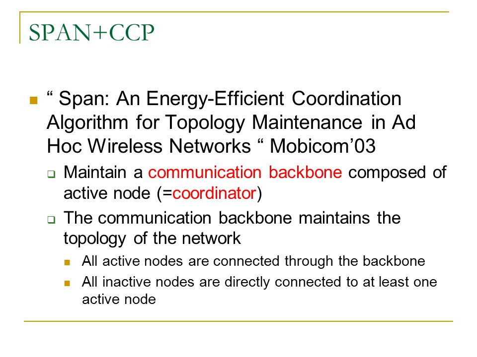 SPAN+CCP Coordinator eligibility rule  Two of its neighbors cannot reach each other either directly or via one or two coordinator A B C D X E