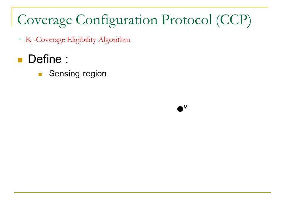 Coverage Configuration Protocol (CCP) - K s -Coverage Eligibility Algorithm Define : Sensing region v V's sensing circle