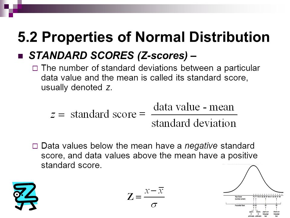 5.2 Properties of Normal Distribution Z-SCORE:  The Stanford-Binet IQ test is scaled so that scores have a mean of 100 and a standard deviation of 16.