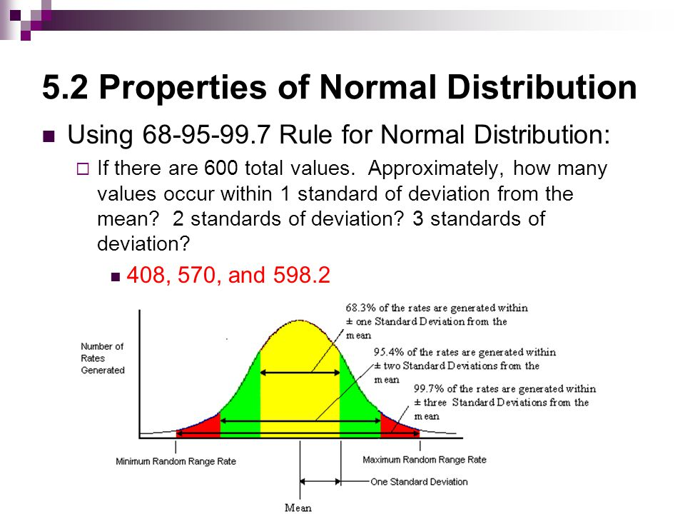 5.2 Properties of Normal Distribution Using 68-95-99.7 Rule for Normal Distribution:  If there are 325 values within 1 standard of deviation from the mean, approximately, how many values exist in the data set.