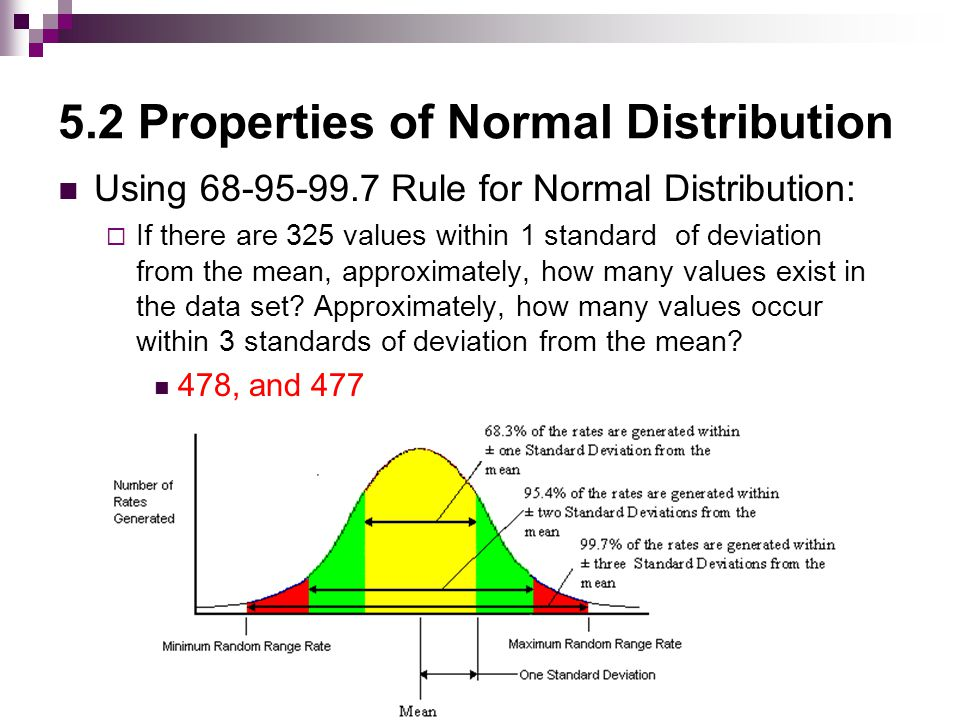 5.2 Properties of Normal Distribution Unusual Values…  Values that are more than 2 standards of deviations away from the mean.
