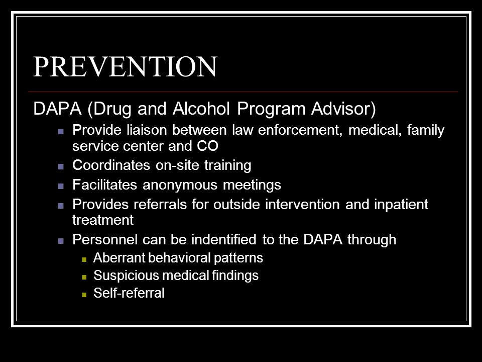 CONTROL Medical personnel become professionally involved in substance abuse programs when called upon to withdraw blood or urine from an individual suspected of drug and alcohol Circumstances where withdrawal of blood or urine is authorized Consensual withdrawal Valid medical purpose Competence for duty examinations