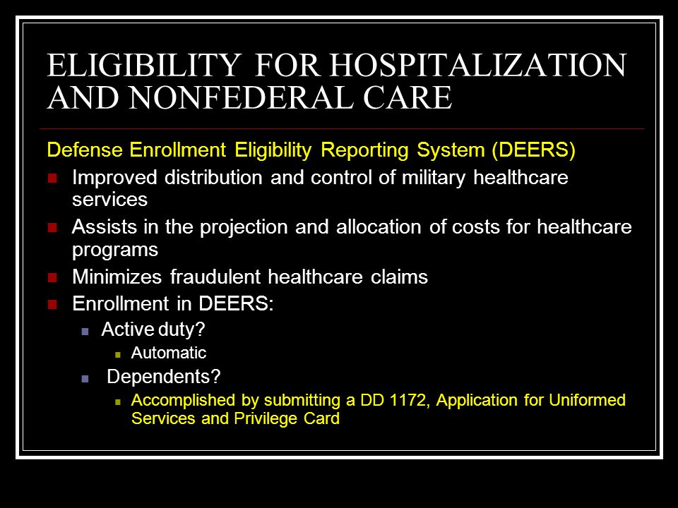 ELIGIBILITY FOR HOSPITALIZATION AND NONFEDERAL CARE ****Patients who show up for care without a valid ID WILL NOT be provided care without signing a document stating they are eligible and a reason why they do not have an ID card.