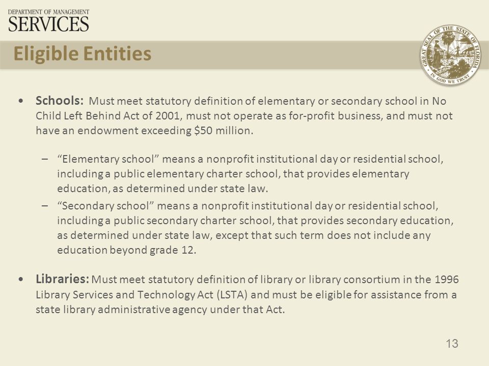 14 Eligible Purpose Defined in the FCC Second Order and Amended in FCC rules: – For purposes of this subpart, activities that are integral, immediate and proximate to the education of students, or in the case of libraries, integral, immediate and proximate to the provision of library service to library patrons, qualify as educational purposes. Activities that occur on library or school property are presumed to be integral, immediate and proximate to the education of students or the provision of library services to library patrons.